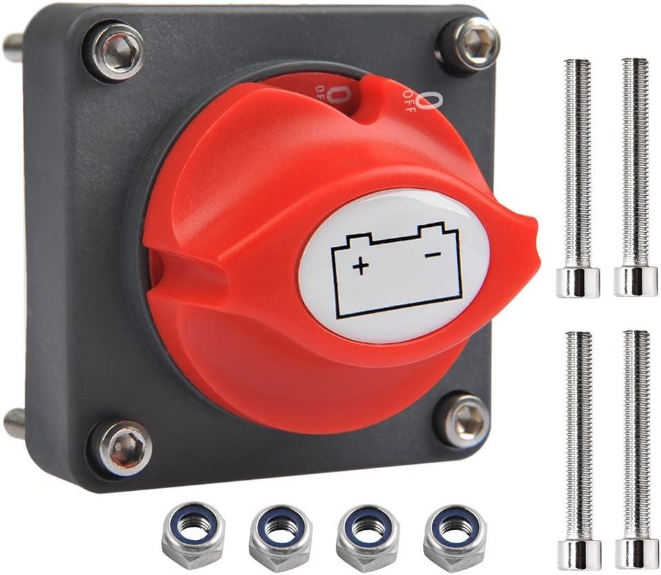 OFNMY Interruptor Aislador de Batería 12V / 24V 300A Perilla Extraíble Interruptor de Corte de Energía para Marina Barco/Coche/Vehículos,etc