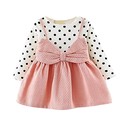 47db95644 Girls Dot Bowknot Dress Long Sleeve Princess Dresses for 0-2 Years Old Kid (