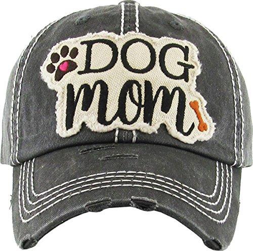 Dog Mom Hat KBV-1140 BLK Ladies Vintage Baseball Cap Distressed Washed (Cap Dog)