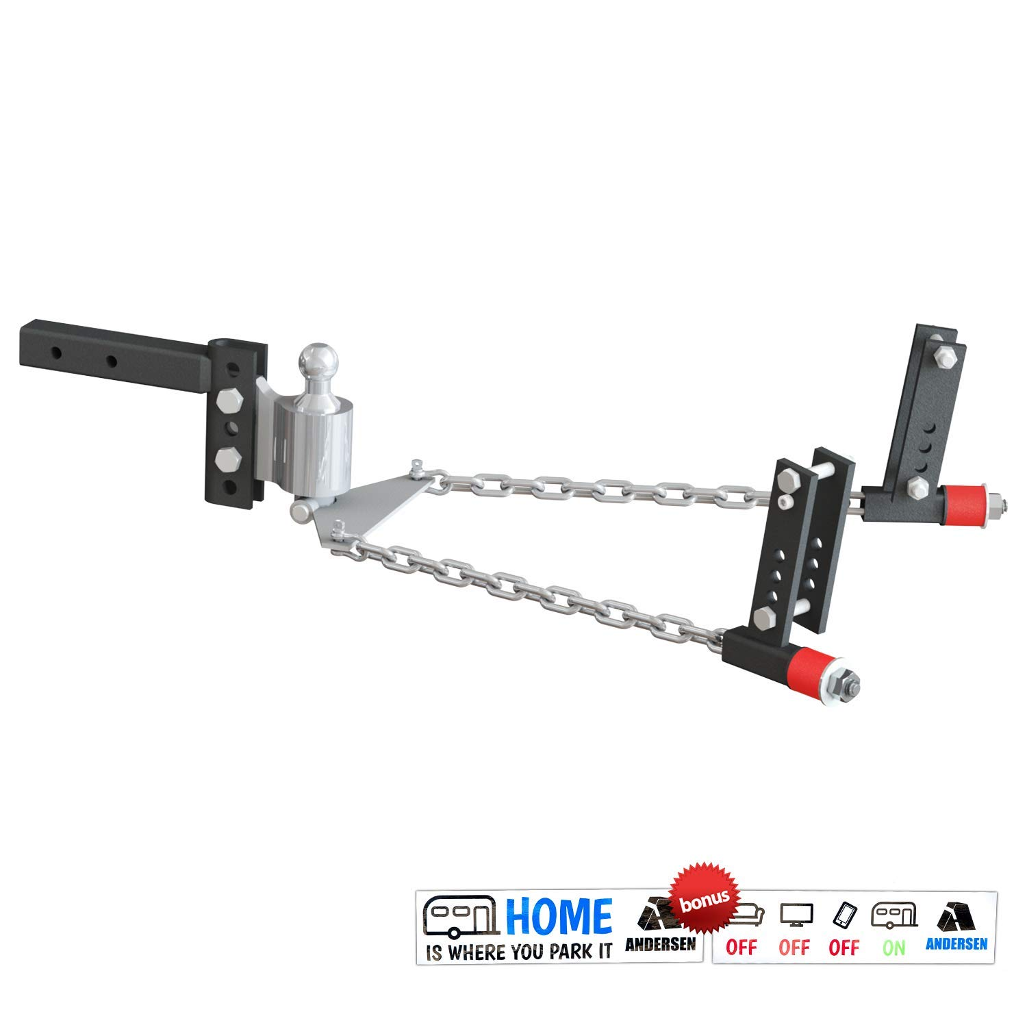 Andersen Hitches 3350 | No Sway Weight Distribution Hitch | 4'' Drop-Rise | 2 5-16'' Ball | 3'', 4'', 5'', 6'' Universal Frame Brackets | Includes 2 Bumper Stickers by Andersen Hitches
