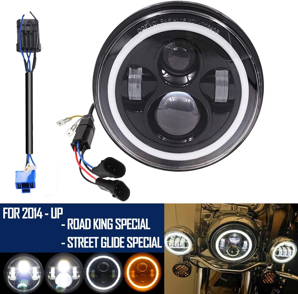 7 Inch Round Black LED Headlight for Harley Davidson with Dual Bulb Harness Fits 2014-2019 Street Glide Special Road King
