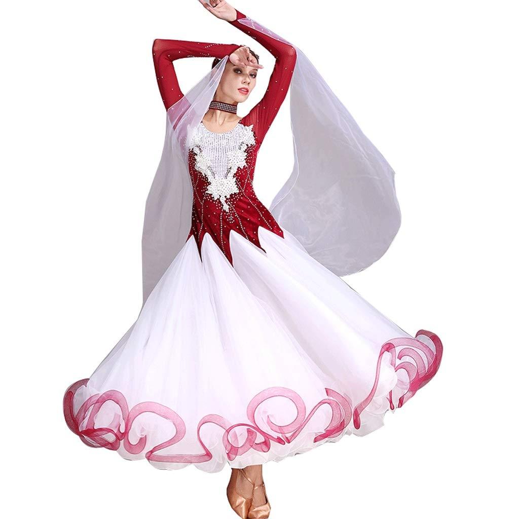 大人気の 手作り刺繍ワルツ社交ダンスドレス用女性パフォーマンス衣装長袖グレートスイング競争ダンスドレス B07QCT5TKX B07QCT5TKX XL|レッド レッド レッド XL, 【未使用品】:23190c5a --- a0267596.xsph.ru