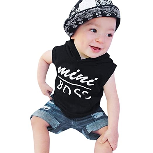 79ac1fbb5 KASSD Toddler Baby Boy Tops Pants Set Infant, Letter Print Denim Jean  Casual Kids Outfits. Roll over image to ...