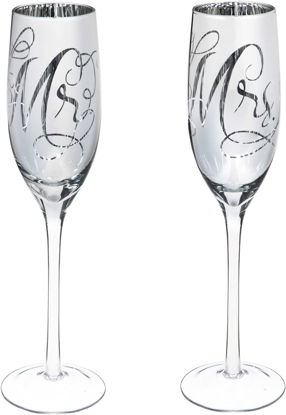 Wedding Day Décor Mr. and Mrs. 8 OZ Champagne Flutes - 3 x 10 x 3 Inches