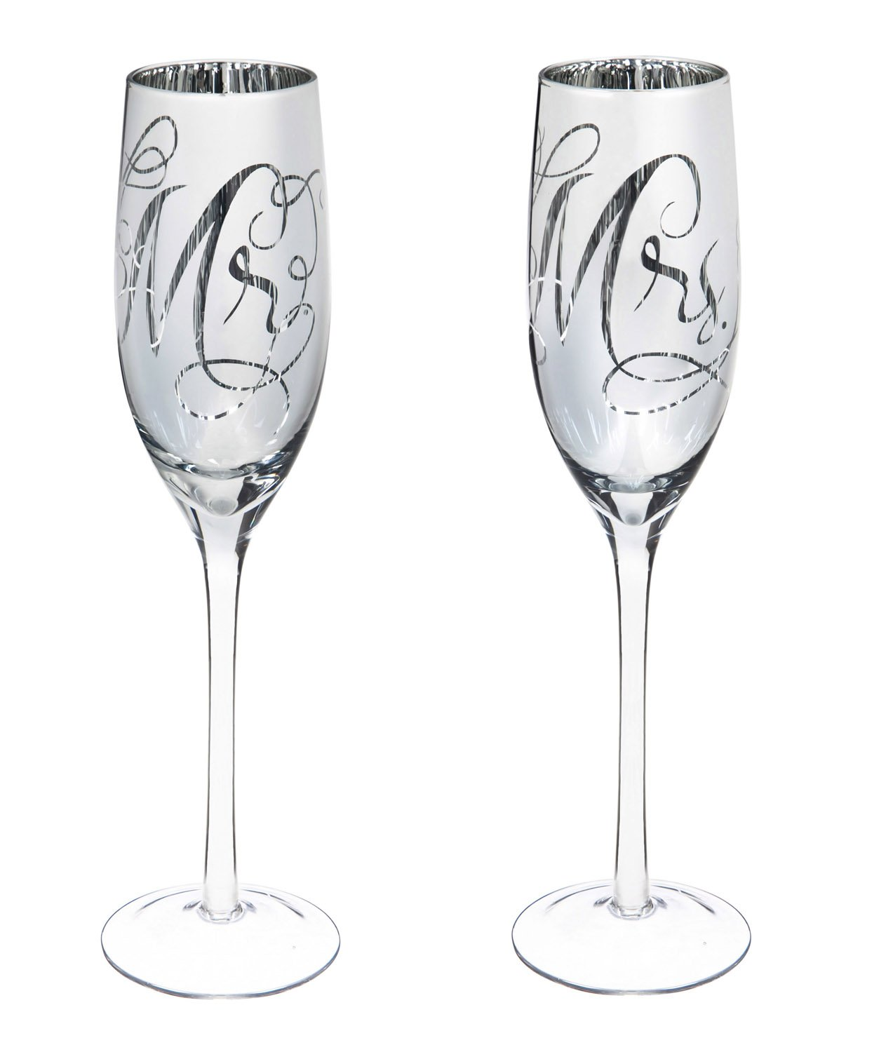 Cypress Home Hand-Detailed Silver Mercury Mirror Glass Mr. and Mrs. Script Wedding Champagne Toasting Flute Glasses, Set of 2, 8 ounces in Gift Box