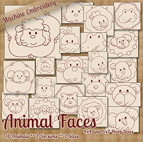 Animal Faces Redwork Embroidery Machine Designs on CD - 20 Cute Patterns - 2 Sizes Each - PES JEF EXP XXX VIP DST