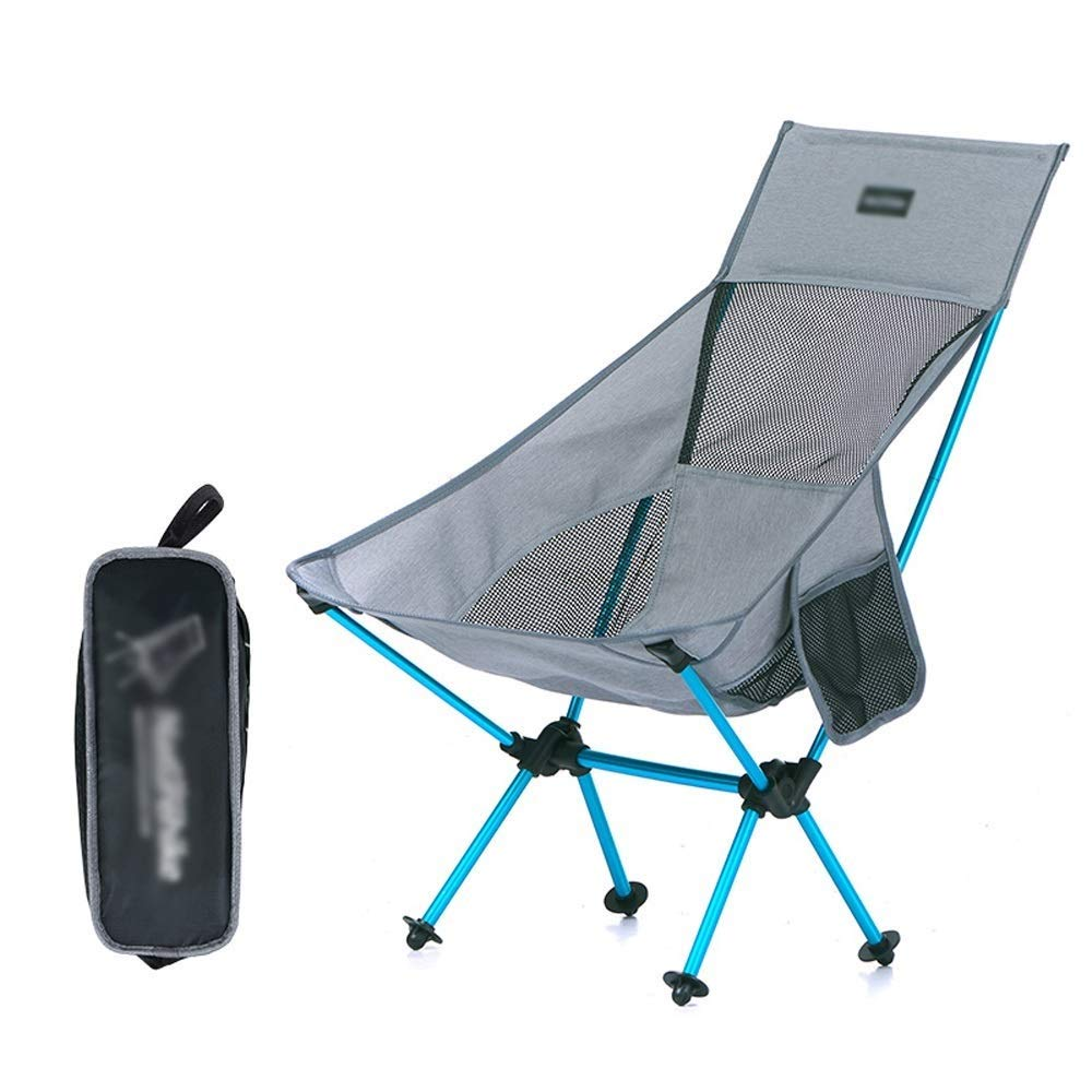 Outdoor Folding Chair with Backrest Aluminum Alloy Modern Minimalist Lightweight Portable Multi-Function Camping Picnic Travel Fishing Mountaineering BBQ Outdoor 2 Colors Optional (Color : Gray)