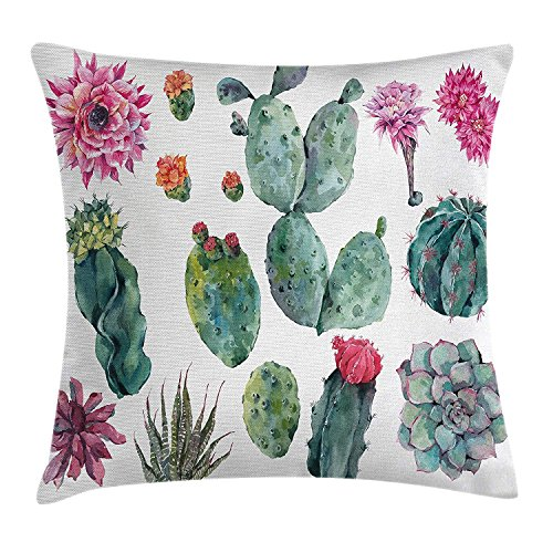 apron∩ hats Nature Decor Throw Pillow Cushion Cover, Desert Botanic Herbal Cartoon like Cactus Plant Flower with Spikes Print, Decorative Square Accent Pillow Case, 18 X 18 Inches, Green and Pink (Caps Singles 100 Herbal)