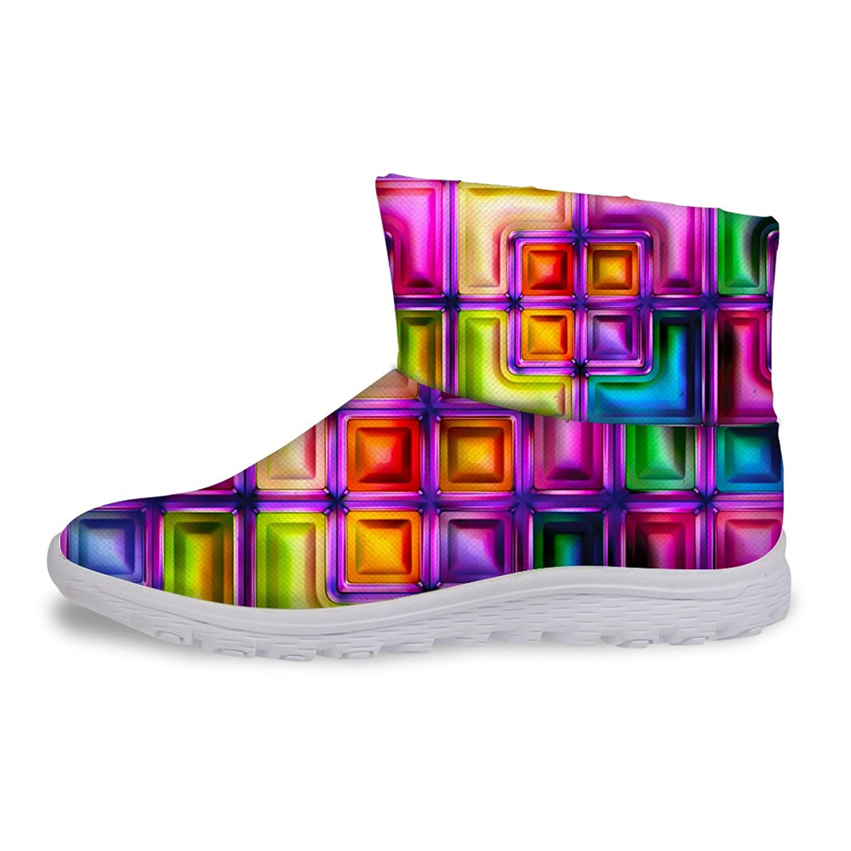 FOR U DESIGNS Fashion Glitter Plaid Pattern Slip On Women's Winter Warm Short Boots Waterproof
