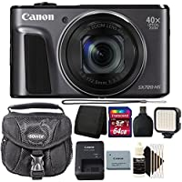 Canon PowerShot SX720 HS 20.3 MP 40X Optical Zoom Digic 6 Processor Wifi / NFC Enabled Digital Camera Black With 64GB Accessory Bundle
