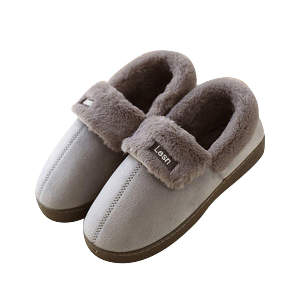 Morbide Scarpe di Cotone Pantofole Inverno Autunno Interno Casa Slippers per Donna e Uomo da Pingenaneer 23.5CM/37-38 Viola Grigio