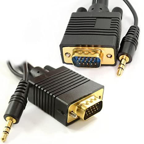 PC Ordenador Portátil A HD LCD LED Plasma TV 15 Pines VGA Con Enchufe Audio Cable