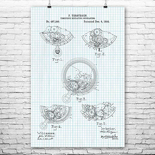 Pocket Watch Repeater Poster Print, Watch Maker Gifts, Clock Maker, Steampunk, Jewelry Store, Tinkerer Gifts, Stopwatch Graph Paper (11