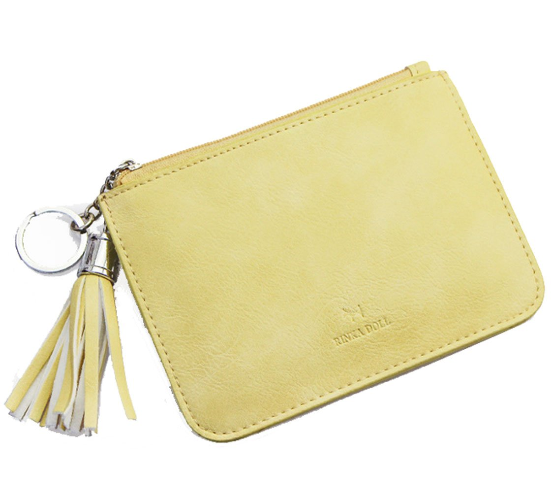 Edmen Leather Slim Credit Card Pocket with Key Ring and ID Window Purse (Yellow)