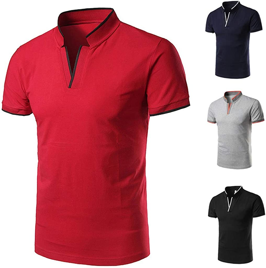 Qinnyo Mens Tshirt for Men Tops Casual Poloshirt Fashion Standing Collar Youth Short-Sleeved Blouse Sweatshirt S-XXL