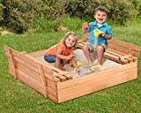 K&A Company Foldable Retractable Sandbox Kids Outdoor Bench Seat Play Children Wooden Playing