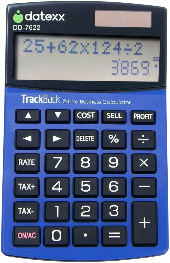 Datexx 2-Line TrackBack Business Slim Mini Desktop Calculator, DD-7622