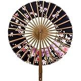 Eventail Rond Motif de Sakura Fleur Eventail de Poche Cadeau Décoration - Noir