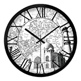FortuneVin Wall Clock Non-Ticking Number Quartz Wall Clock Living Room Decorative Indoor Clock Bedroom Clock Kitchen Clock World Area Mute Quartz Clocks 12 In India, Taj Mahal, Black Box