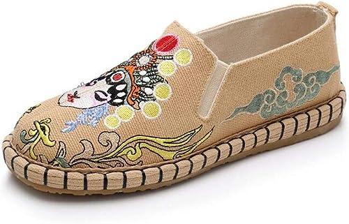 Zapatos Bordados de Mujer Zapatos Planos de algodón y Lino Bordados Zapatos Sencillos de Viento Nacional Zapatos ...