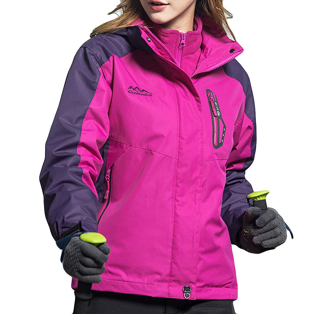 iDWZA Fashion Woman's Winter Coat Two Piece Three in One Outdoor Breathable Warm Clothes(Hot Pink,US M/CN L)