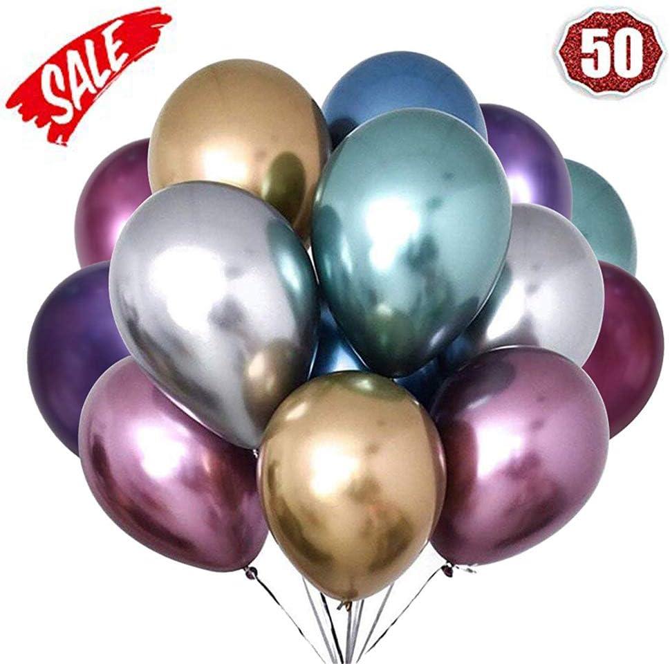 LAKIND Globos metálicos brillantes para cumpleaños, bodas, baby shower y decoraciones navideñas Paquete de 50