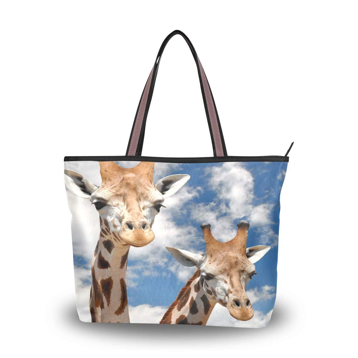 Zip Tote Bag Giraffes Blue Sky Womens Handbags Shoulder Bags Satchel Purse