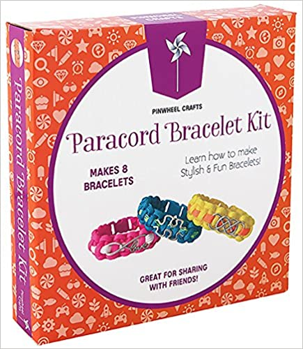 Teens /& Children Parties Make Your Own Personalized Friendship /& Fashion Jewelry for Birthdays Camps /& Art Projects Paracord Charm Bracelet Making Set: Pinwheel Crafts DIY Bracelets Kit for Girls