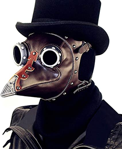 Amazon Com Besufy Halloween Cosplay Makeup Realistic Scary Halloween Decorations Plague Doctor Steampunk Faux Leather Bird Mask Masquerade Party Costume Props Brown Toys Games