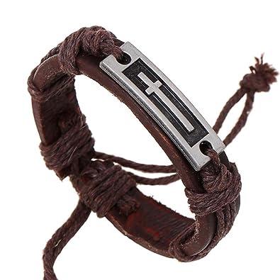 Amazon Com Men Faith Bracelet Christian Leather Bracelet Rustic