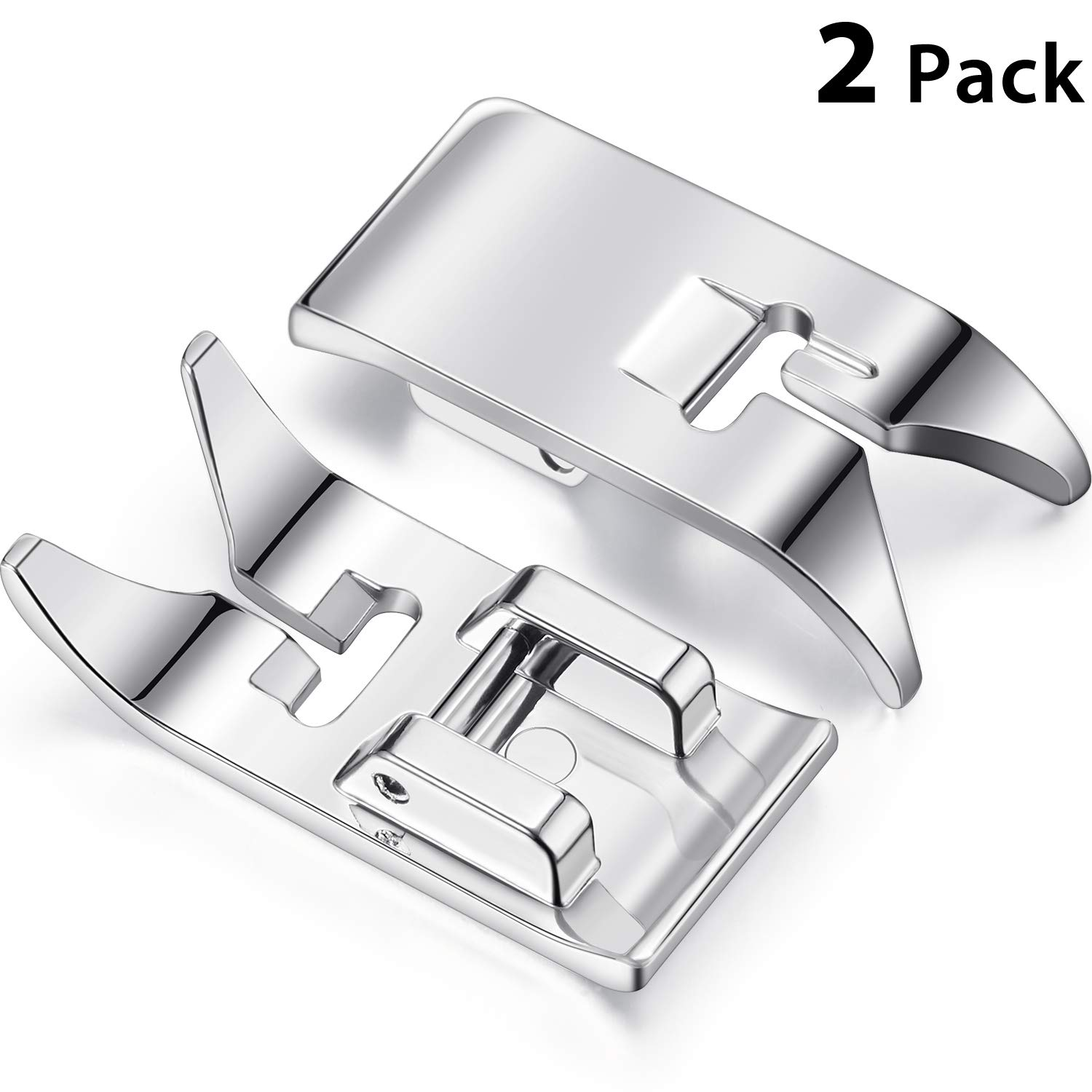 2 Pieces Sewing Machine Presser Foot Straight Stitch Snap On Foot Universal General Purpose Zig Zag Foot for Most Sewing Machines Domestic Low Shank Sewing Machines
