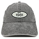 Trendy Apparel Shop Established 1981 Embroidered 37th Birthday Gift Pigment Dyed Washed Cotton Cap - Black