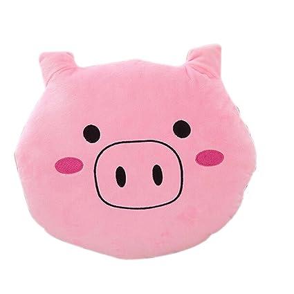 Tinksky almohada cojín redondo (con cerdo Smiley Emoticon peluche peluche peluche (rosa)