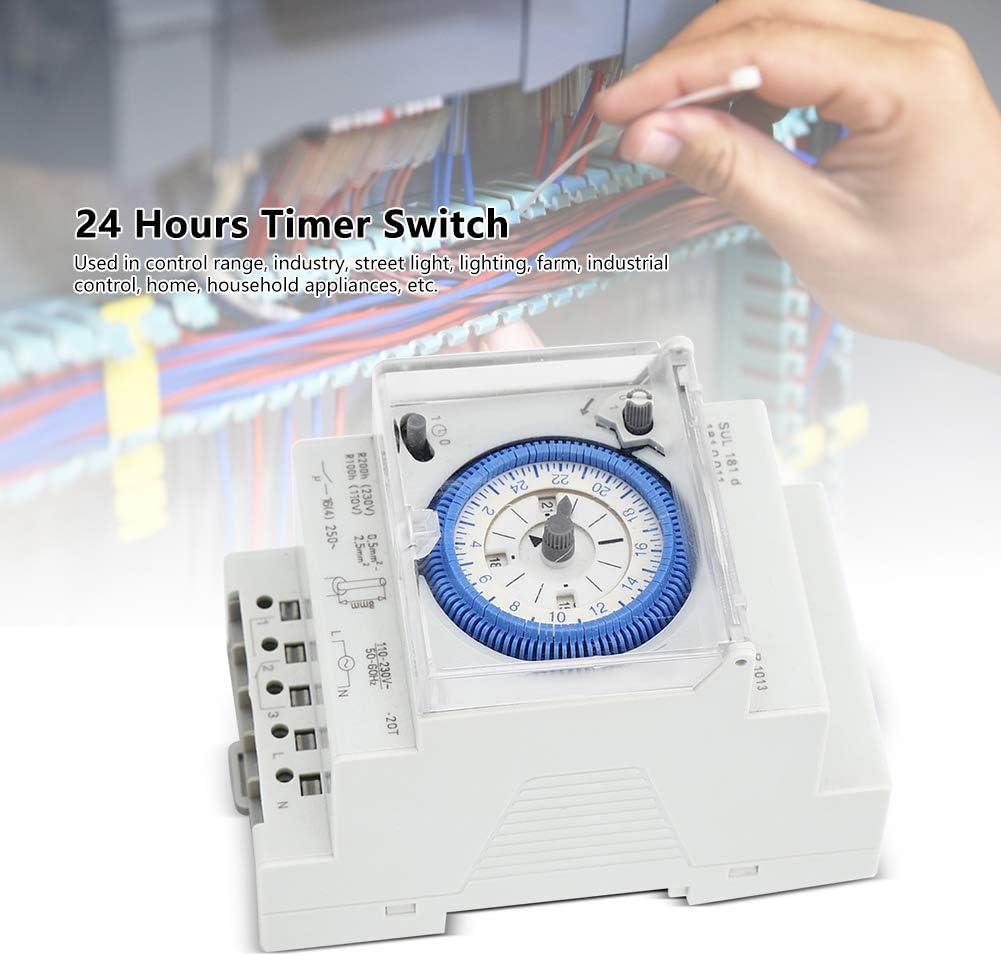 Temporizador mec/ánico 250VAC 16A Temporizador Interruptor de tiempo Rel/é Chip de control de alta gama 15 minutos 24 horas para la industria Aparatos dom/ésticos de luz de calle etc.