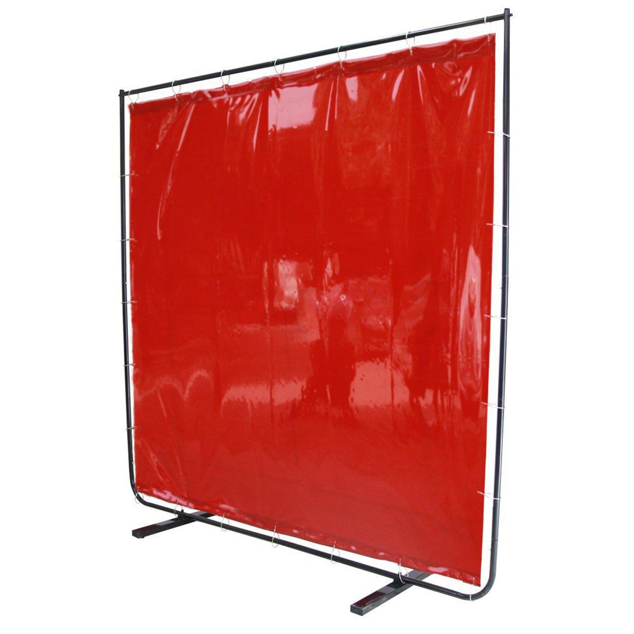 VIZ-PRO Red Vinyl Welding Curtain/Welding Screen With Frame, 6' x 6' by VIZ-PRO (Image #1)