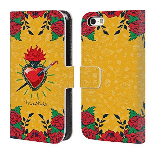 Officiel Frida Kahlo Coeur et Roses Icônes Étui Coque De Livre En Cuir Pour Apple iPhone 5 / 5s / SE