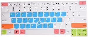 Keyboard Cover for Thinkpad E14 L14 T470 T480 T480S T490 T490s T495 T495s T14 T14s E480 E485 E490 E495, Thinkpad P14s P43s, Thinkpad X1 Carbon 2019 2020, X1 Yoga 2019 2020 Laptop - White Blue