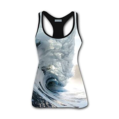 3bb7d5625ac Amazon.com: Clofun Women Tank Top Ocean Waves 3D Printed Sleeveless ...