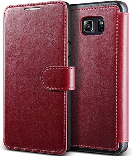 Galaxy Note 5 Case, (Savant – Cardinal Red) (Wallet Card Storage) Premium PU Leather Wallet (Slim Portfolio Card Slots) Flip Diary Cover for Samsung Galaxy Note 5 2015 by Lumion For Sale