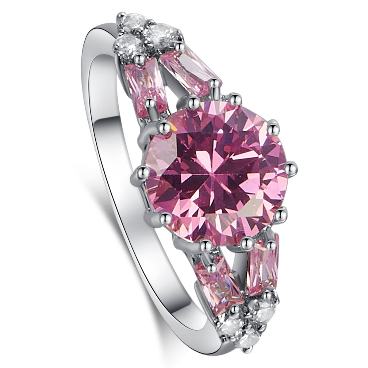 Psiroy 925 Sterling Silver Created Morganite Filled Split Shank Band Cocktail Ring