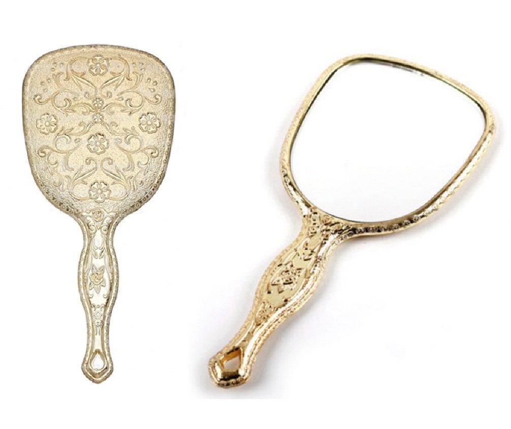 Ohraina 10PCS LOT Ladies Floral Repousse Vintage Mirror Oval Hand Held Makeup Beauty Dresser (Gold)