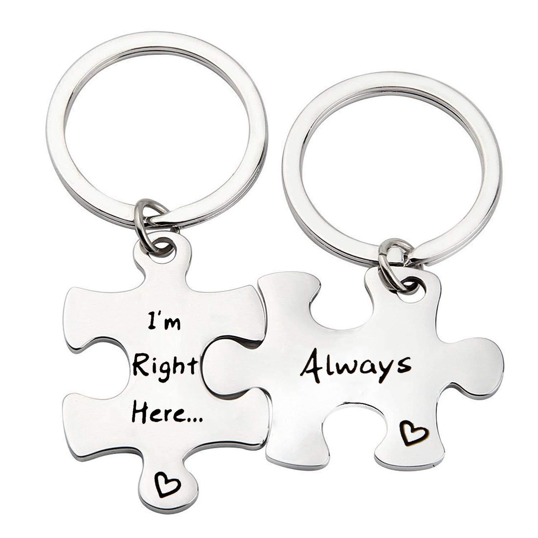 MYOSPARK Couple's Gift Puzzle Piece Keychain Gift for Boyfriend I'm Right Here Always Keychain Set (Right Here Keychain)