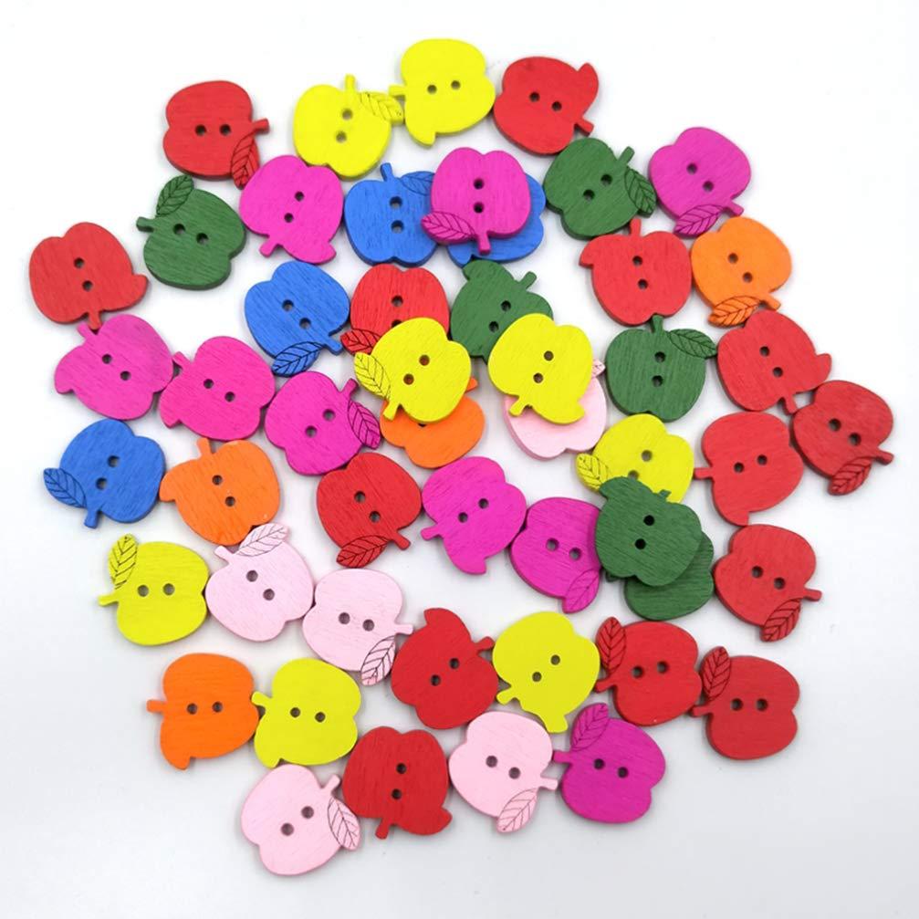 HEALLILY Botones de Madera de Madera Natural Botones Botones Animados Adornos de Costura del bot/ón 2 Hoyos para la artesan/ía de Scrapbooking Bricolaje Accesorios de Costura 100 Piezas Manzana