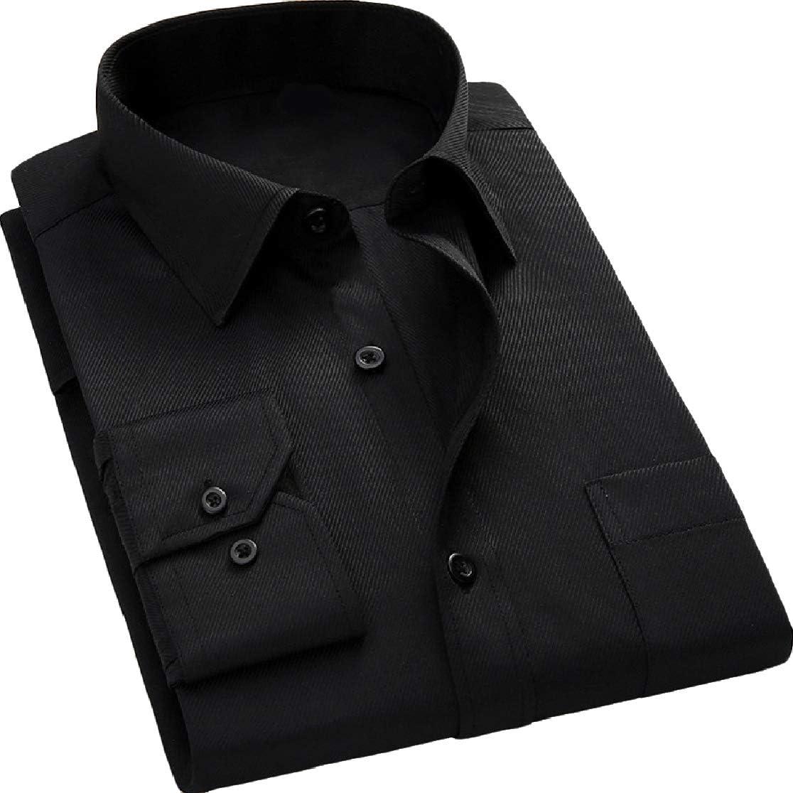 Comaba Mens Slim Lapel Long-Sleeve Button Pocket Oversized T-Shirts Shirt