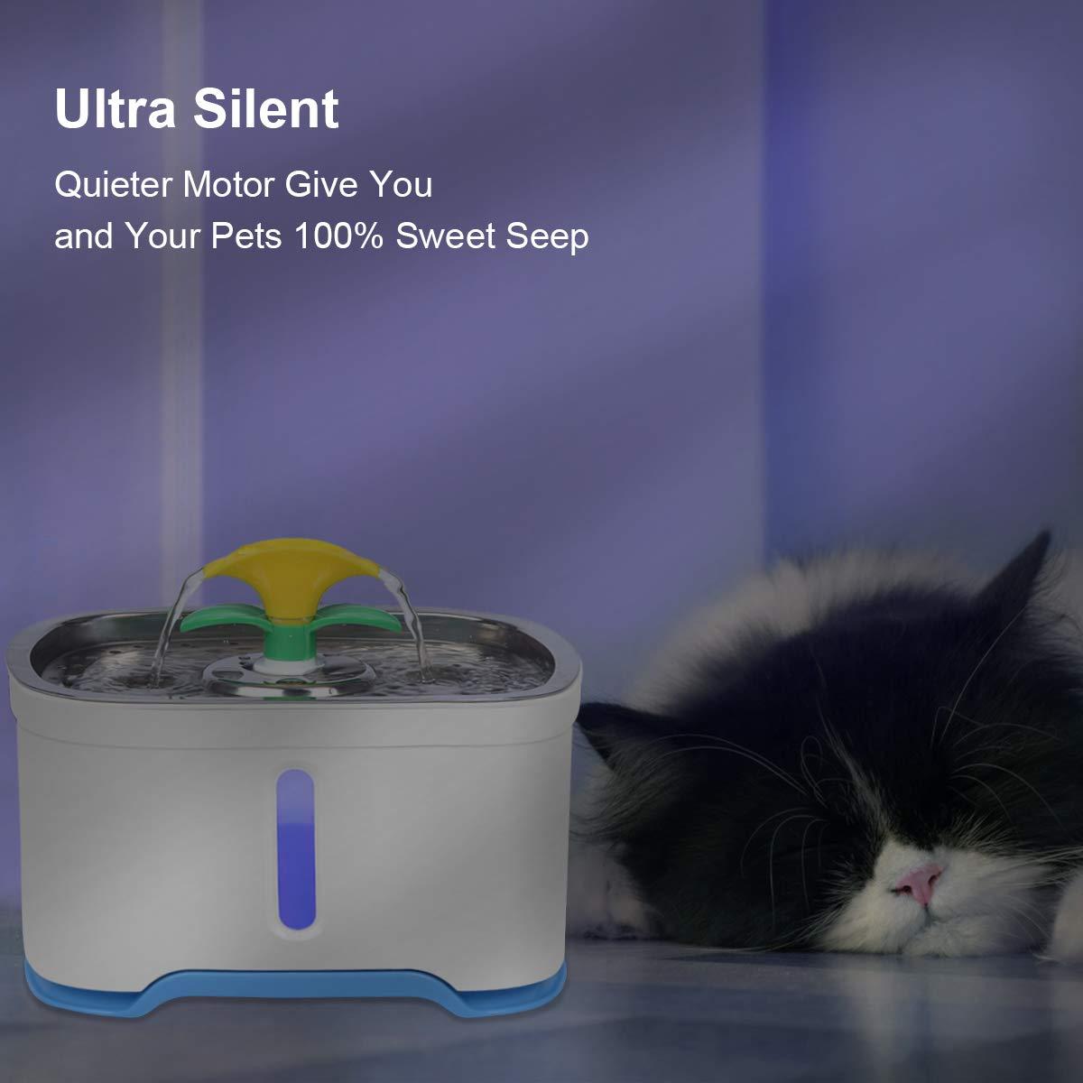Mascotas m/últiples RIOGOO Fuente de Agua para Gatos dispensador de Agua para Fuente de Agua para Perros s/úper silencioso para Gatos Bomba de Apagado autom/ático de 84 oz // 2.5L Perros