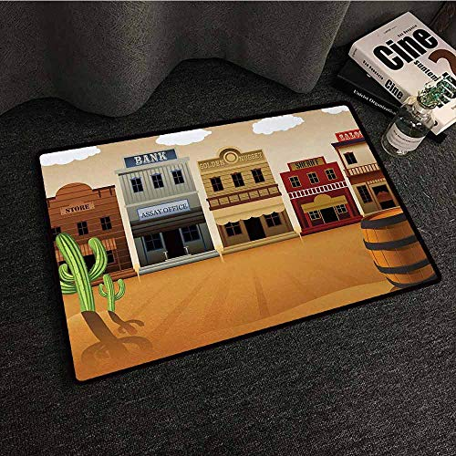 SONGDAYONE Printed Door mat American Wild West Scenery Village Old Town Texas Cowboy States Nostalgic Illustration Avoid Slipping to Multicolor,W24 xL35