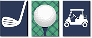 Big Dot of Happiness Par-Tee Time - Golf - Sports Themed Nursery Wall Art, Kids Room Decor and Game Room Home Decorations - Gift Ideas - 7.5 x 10 inches - Set of 3 Prints