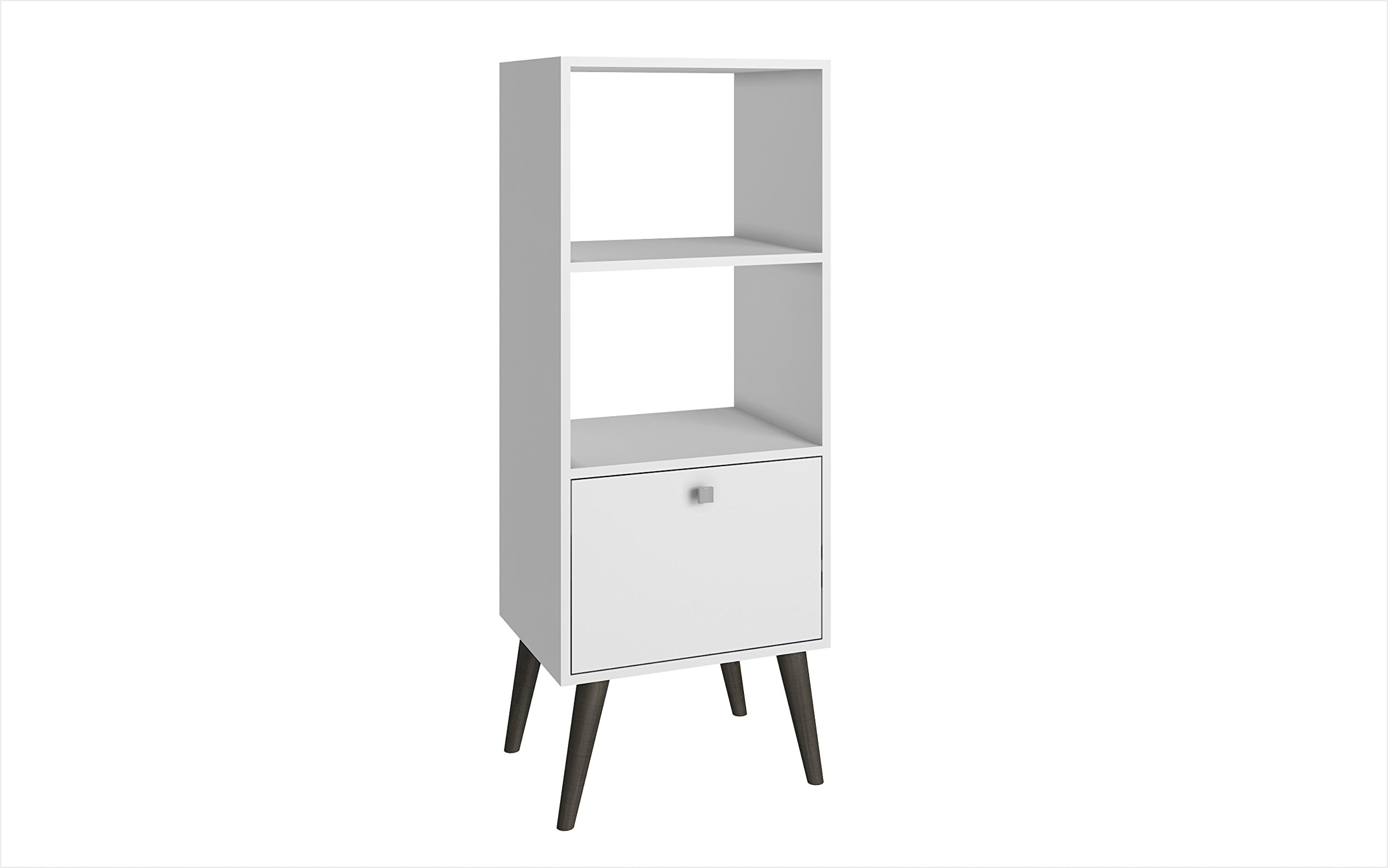 Manhattan Comfort Sami Collection Modern Sophisticated Tall Standing 1 Drawer and 2 Open Shelf Book Case, White