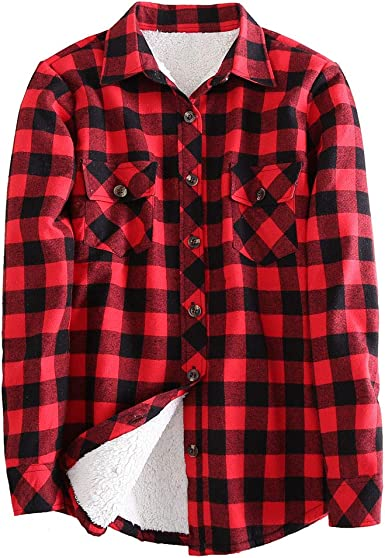 Camisas-a-Suadros Mujeres Manga-Larga Invierno Blusas-Franela Caliente Casual-Tops