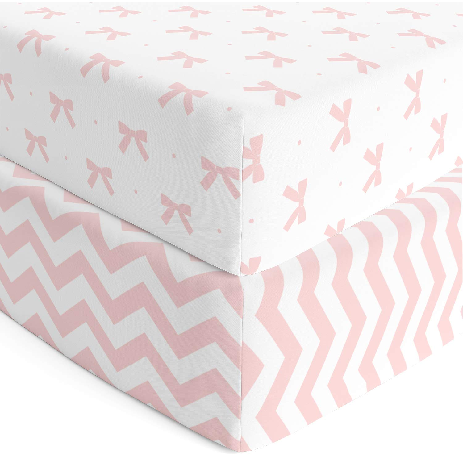 Cuddly Cubs Premium Jersey Crib Sheets, Gentle on Baby Skin and Extra Soft for a Sound Sleep! Fitted and Stretchy, NO Struggle to Get on the Mattress. Cute Chevron and Bow Pattern in Pink and Gray by Cuddly Cubs